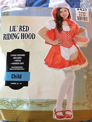 Holloween Costume Lil Red Riding Hood  Girls Size 12-14 RED Large - Girl Holloween Costumes