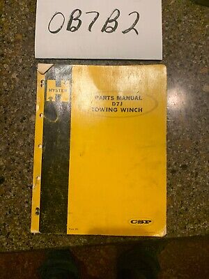 Hyster D7j Winch Towing Dozer Parts Manual Customer