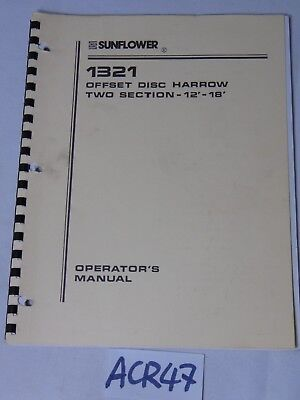 Operators Manual Farm Book Sunflower Equipment 1321 Offset Disc Harrow 12-18
