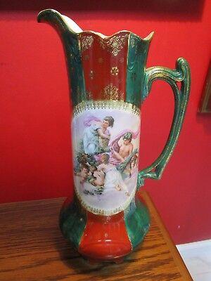 Antique Prussia BACCHANALIAN  PITCHER/EWER  St. Killian mark Oscar Schlegelmilch