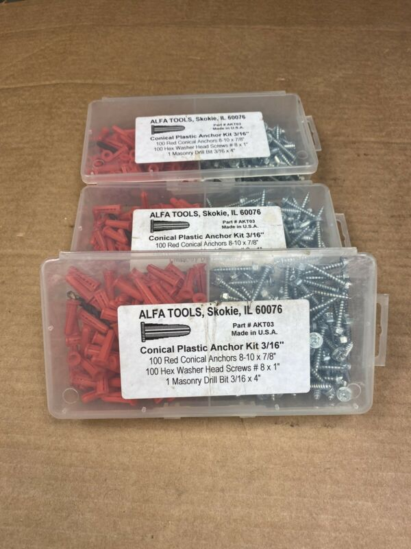 "ALFA TOOLS Conical Anchor Kit 3/16"" 8-10  Dia. x 7/8 in. #8x1"" AKT03"