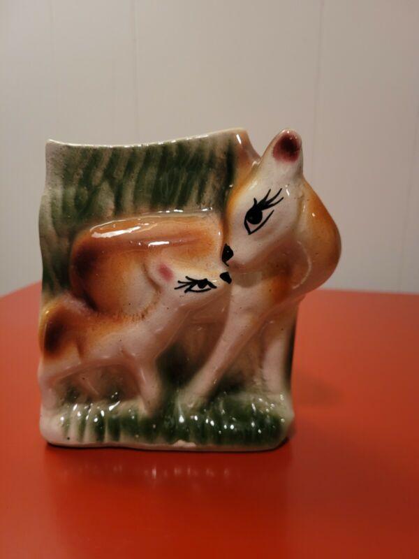 Vintage Deer Doe And Fawn Planter