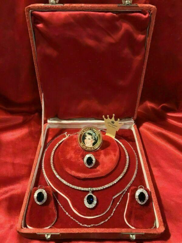 ROYAL ELEGANCE, LUXURY SAPPHIRE & DIAMOND JEWELRY SET INSPIRED BY PRINCESS DIANA