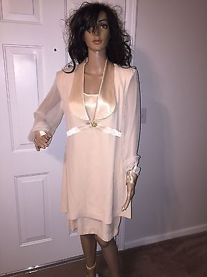 VTG 90'S SIZE 8 J.R. NITES BY CALIENDO SHEER SLEEVES DRESS JACKET OUTFIT - 90s Party Outfit