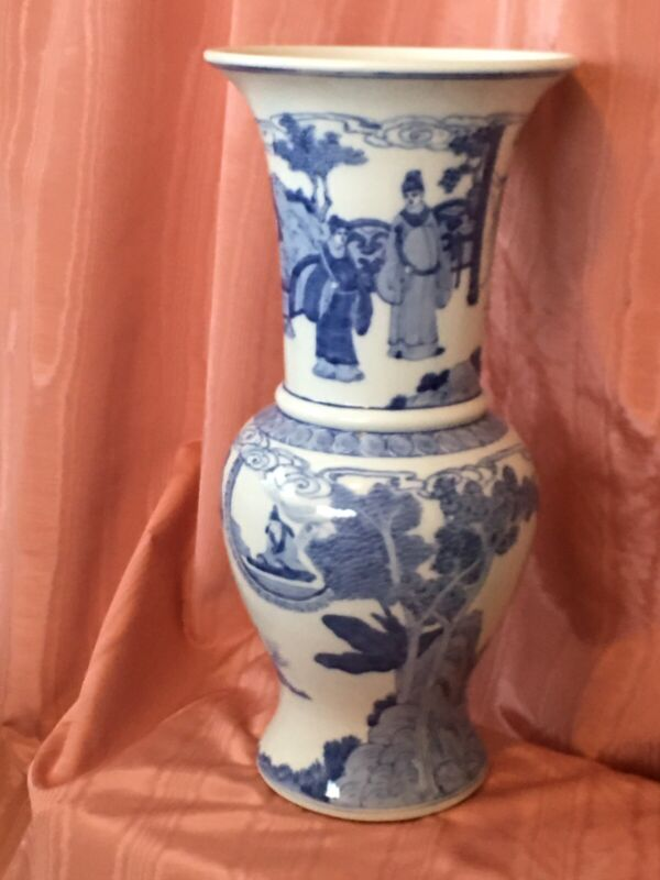 """Chinese Marked Blue and White Character Story Porcelain Temple Vase 19.75"""""""