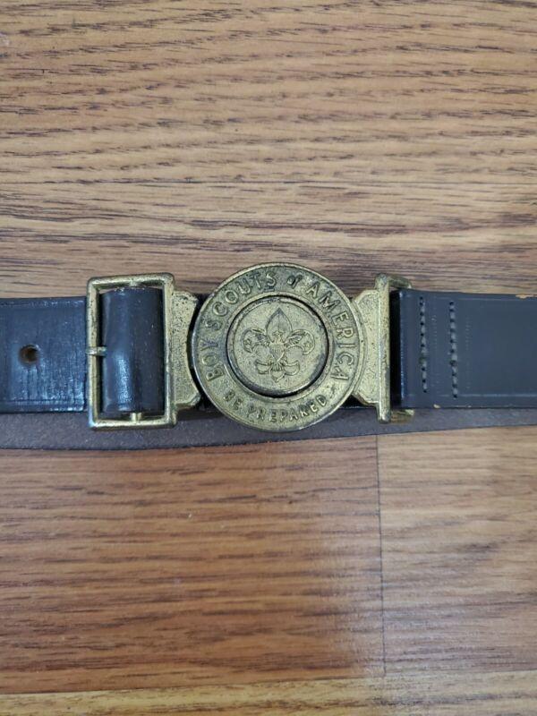 Vintage Boy Scouts Leather Belt Men Size W34