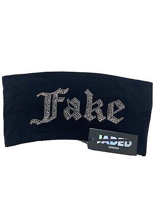 JADED LONDON Diamante 'FAKE' Bandeau Top Boob Tube Size M