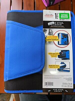 Mead 500 Sheet 1.5 Ring Zipper Binder Blue