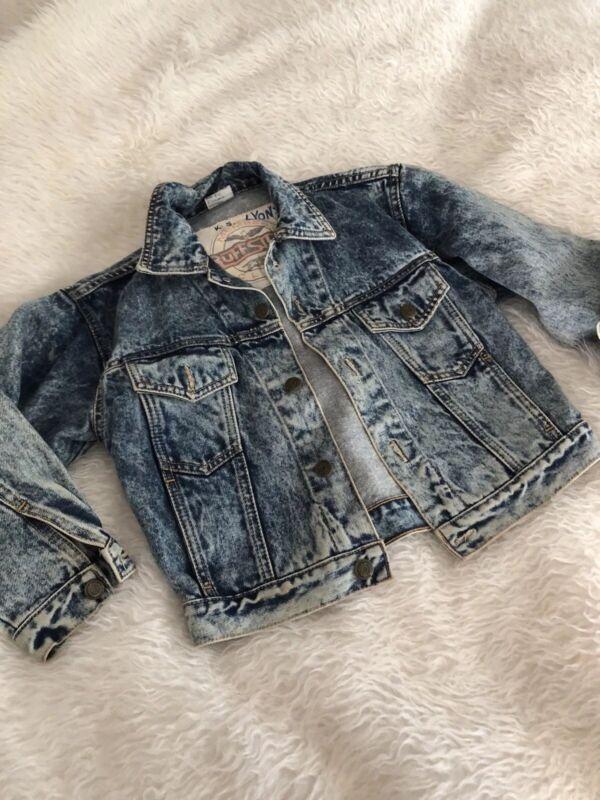 Vintage Kids acid wash denim jean jacket size 8 ruff stuff club  90s 80s winter