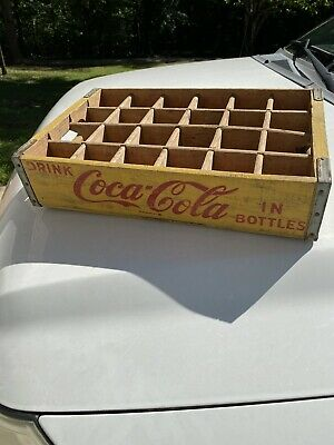 VTG Coca-Cola Wooden Yellow Soda  24 Bottle Crate Carrier Box case wood coke