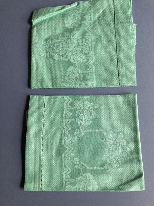 Vintage damask tea towel in green