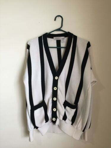 VTG Bergdorf Goodman 100% Cotton Striped Button-up Cardigan Sweater Size M