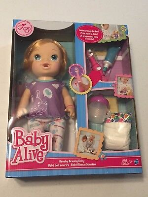 New Baby Alive Brushy Brushy Baby Doll - Blonde Interactive Brush Teeth Bedtime for sale  Atlanta
