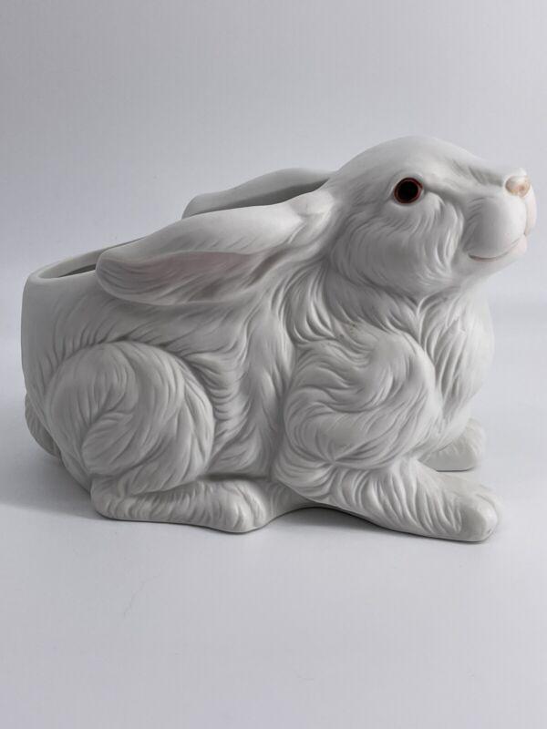 Vintage Lefton Bunny Fine Porcelain Planter #3176 White Rabbit