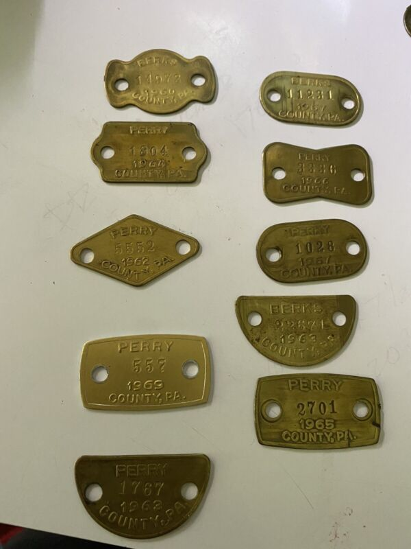 Vintage Dog Tags From 60's-10 pieces