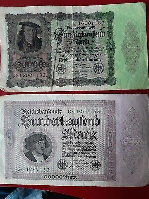 50.000 Mark 19.11.1922 100.000 Mark 01.02.1923 Reichsbanknoten  Schnäppchen!!