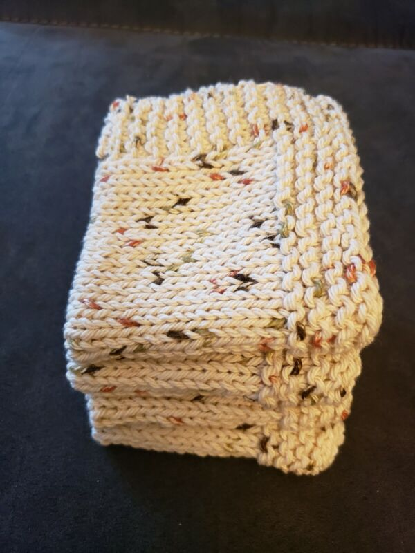 Set of 4 Handmade Knitted 100% Cotton Dish Cloths/ Wash Cloths -Fall