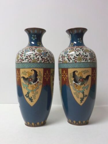 "Pair Japanese CLOISONNE Enamel on Bronze 12"" Vases, Meiji Period, c. 1880"