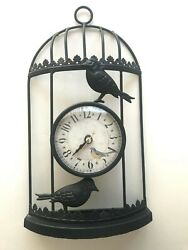 Black Wire BIRD CAGE Wall CLOCK Decoration Vintage Look Shabby Chic Decor