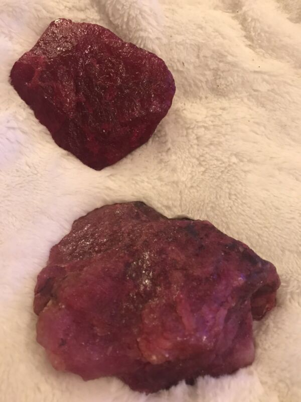 2 Very Large Corundum Ruby Stones — All Natural