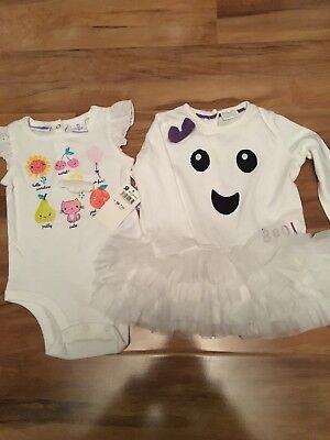 Girls Halloween Ghost Tutu Dress & Babies R Us All In One 3-6m](Halloween Babies R Us)