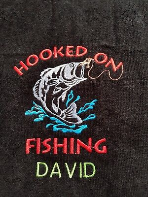 Personalised embroidered fishing towel. Birthday present