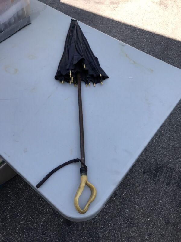 Antique Parasol Umbrella With Carved Handle Black Mourning Fabric