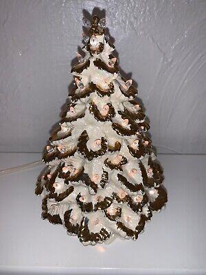 "Vintage Nowells Ceramic Christmas Tree Iridescent White W/Gold Trim Lights 9"" ()"