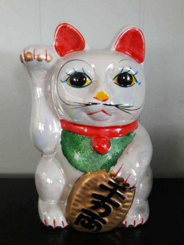 """8"""" Tall Irradescent Lucky Cat Bank Waving Maneki Neko Beckoning"""