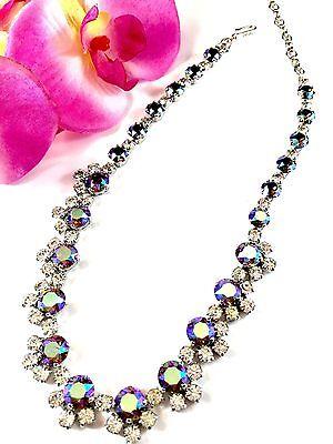 Licht-halskette (Glänzend 1950 S Crown Trifari Rhodium Saphir Kristall Polarlicht Halskette)