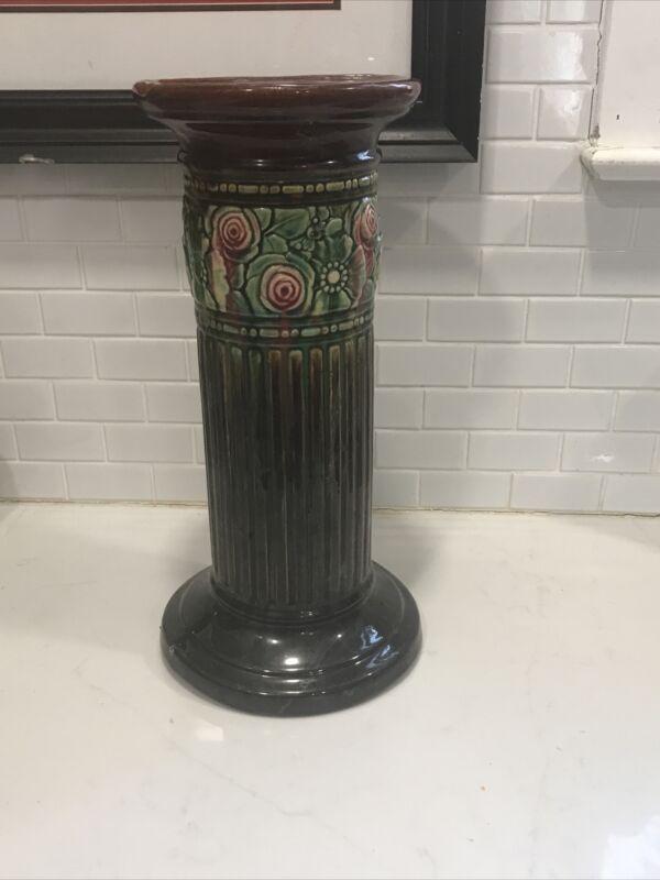 """Vintage Antique Majolica Pottery Pedestal Stand 18"""" Weller? Roseville? READ"""