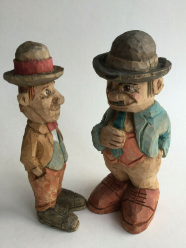 Hand carved PAIR wooden Laurel and Hardy Award Winning Canadian Carver 7""