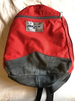 Jansport Made In The USA Vintage Red With Gray Leather Canvas Backpack Classic Gray Classic Backpack