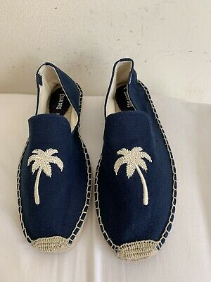 Soludos Embroidered Palm Tree Smokin' Espadrilles Sz 10 Womens Blue Braided ()