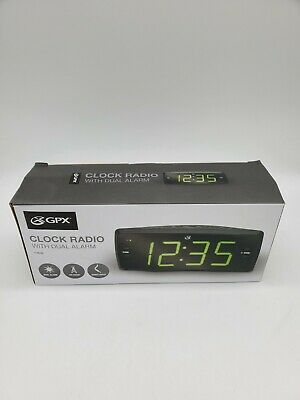 New GPX AM/FM Clock Radio C353B Dual Alarm Green LED Display Battery Backup