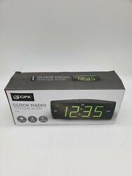 New GPX AM/FM Clock Radio C353B Dual Alarm Green LED Display Battery Backup