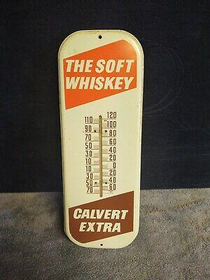 Calvert Extra Whiskey Advertising Thermometer Sign Vintage Original 50's Model