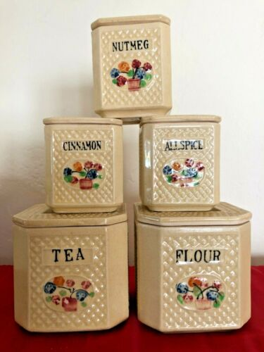 Vintage Set Of 5 Ceramic Textured Lidded Canisters Japan MINIATURE