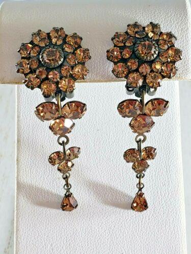 Vintage Bronzed Tone Clip on Earrings Flower Dangle ICY Rhinestones GORGEOUS