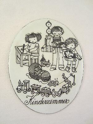 KINDERZIMMER EMAIL EMAILLE EMAILLIERTES METALL TÜR SCHILD 1970'er KINDER ZIMMER