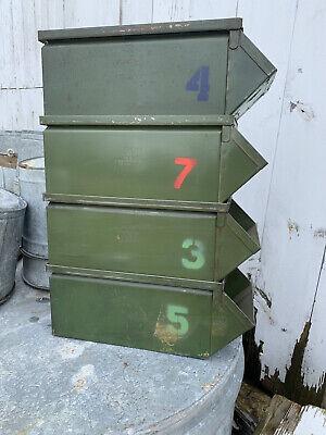 Lot Of 4 Vintage Green Industrial Metal Storage Bin Stackbins Rustic 3 4 5 7