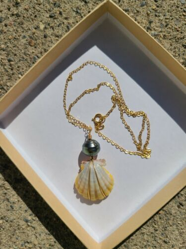 Sunrise Shell Tahitian Pearl Gold Filled Yellow Gray White New Necklace Pendant