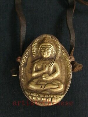 Collection China Tibet Old Copper Carving Buddha Statue Boxes Amulet Pendant