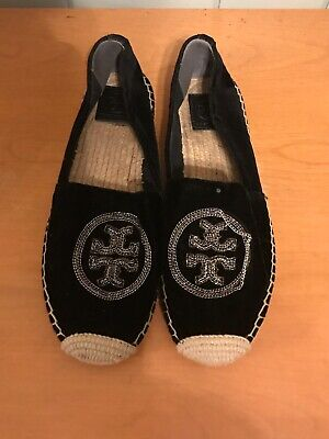 Tory Burch Women Shoes Size 9M Velvet Logo Chain Espadrille Black READ