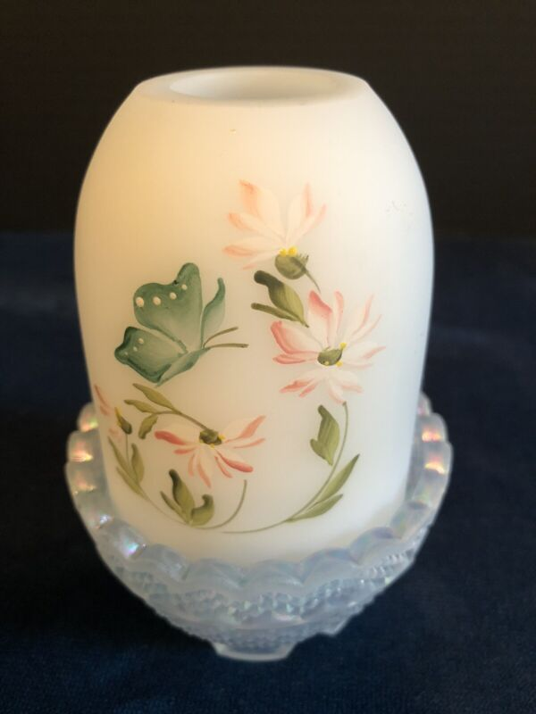 Fenton Cameo White Satin Glass Fairy Lamp Hand Painted Butterfly Artist Signed