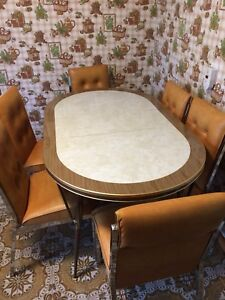Retro dining set. Table and six chairs