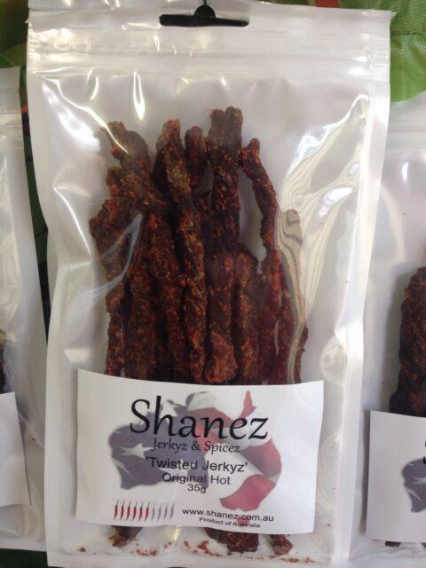 SHANEZ ORIGINAL HOT BEEF JERKY~35 gm ~10 Flavors Choice~Aussie