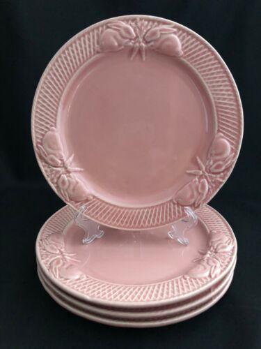 "SET/4 BORDALLO PINHEIRO PINK BUNNY RABBIT LUNCHEON SALAD DESSERT PLATE 8-1/2"""
