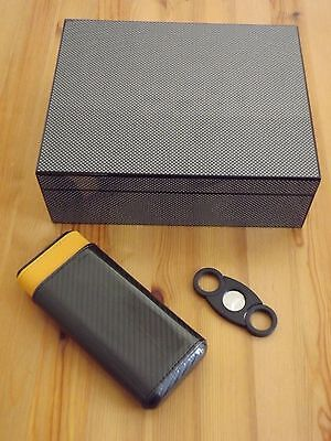 Black Carbon Fiber 50 Count Spanish Cedar Humidor Set 3 60R Cigar Case & Cutter