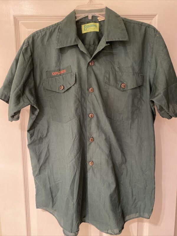 Vintage Dark Green BSA Explorer Venture Boy Scout Short Sleeve uniform shirt #1